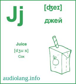 Английский алфавит буква J.