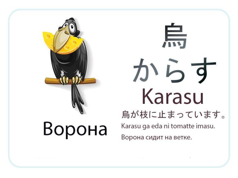 Ворона на японском языке. Бесплатные карточки.