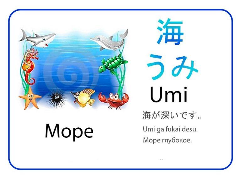 Море на японском языке. Бесплатные карточки.