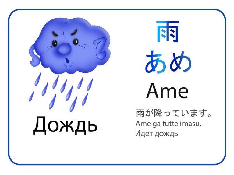 Дождь на японском языке. Бесплатные карточки.